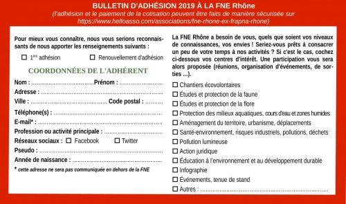 Formulaire d'adhésion 2019  - particuliers