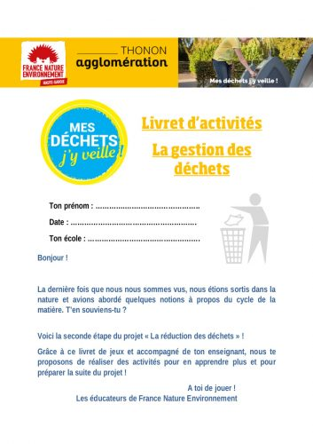 Livret d'activités pour les établissements de Thonon-Les-Bains
